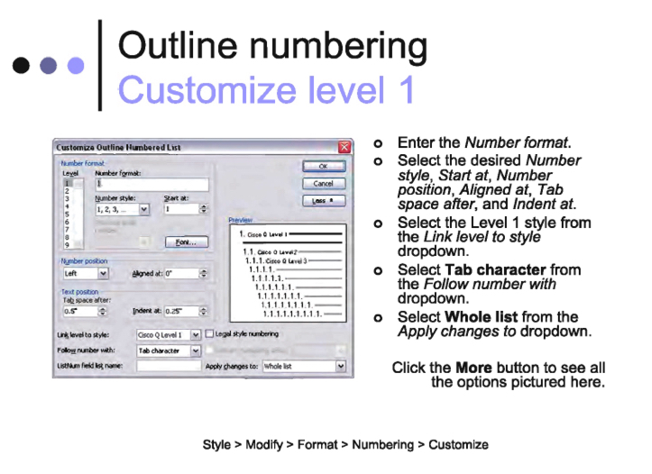 Numbering and Graphics in MS Word
